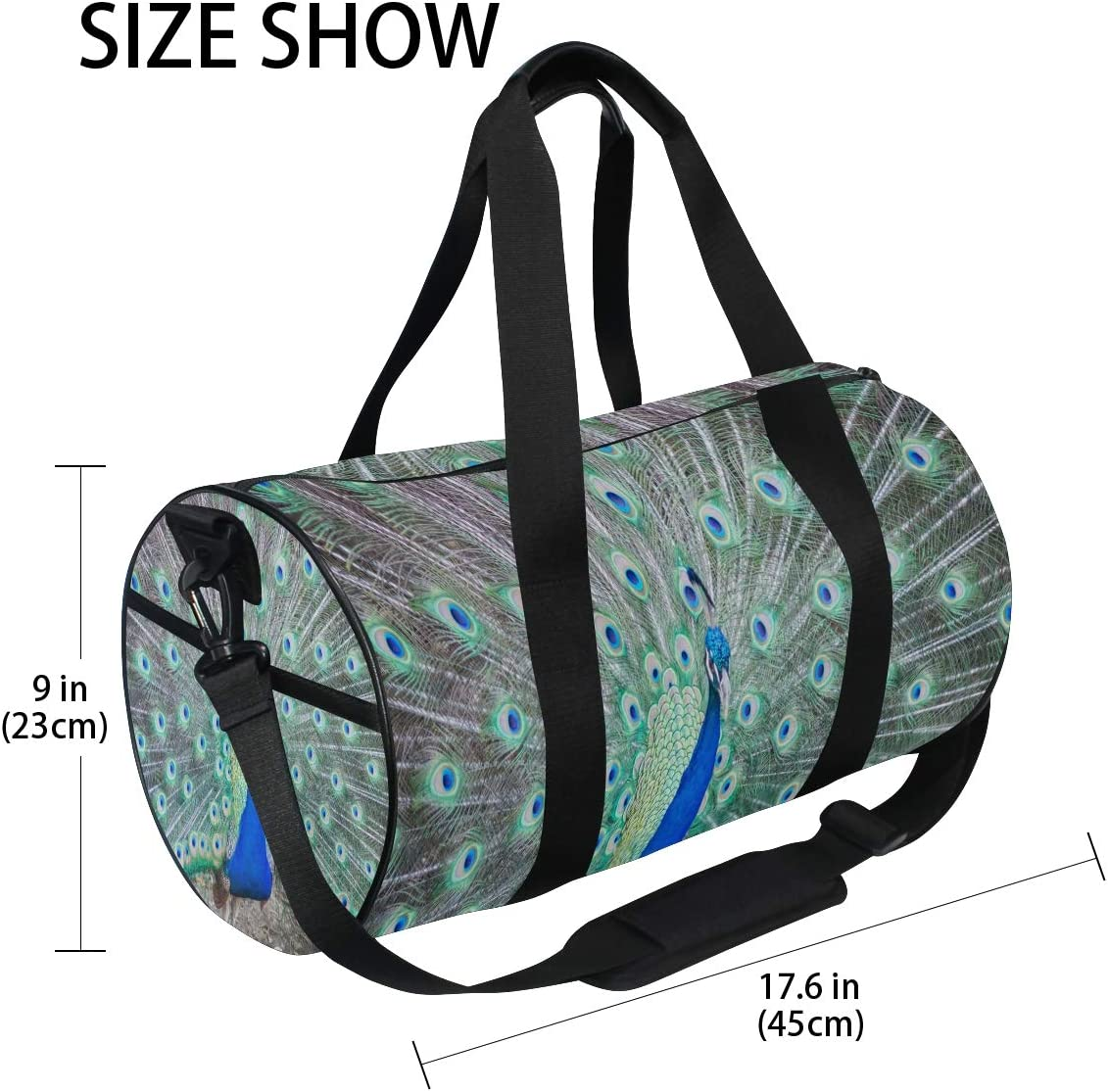 Gym Bag Colorful Peacock Plumage Women Canvas Duffel Bag Cute Sports Bag for Girls