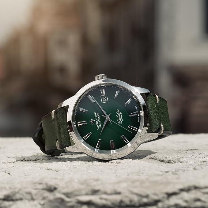 Meccaniche Veneziane - Reloj automático para hombre Redentore Smeraldo (40,5 mm), color Verde: Amazon.es: Relojes