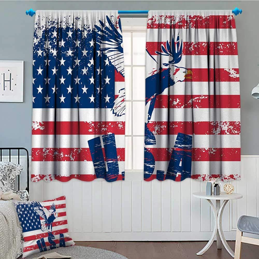 Anniutwo ユニオンジャック遮光ウィンドウカーテン 購買 英国国旗 歴史的なアーバンスカイラインのシルエット カスタマイズカーテン 幅55インチtimes;長さ39インチ ロイヤルブルー 買い物 ブラック レッド 115cm x 45