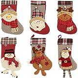 "Scorpiuse 21"" Christmas Stockings Felt Christmas Decorations for Mantle Xmas Stocking Santa Snowman Reindeer Party (Set of 6(21""), Set of 6(21""))"