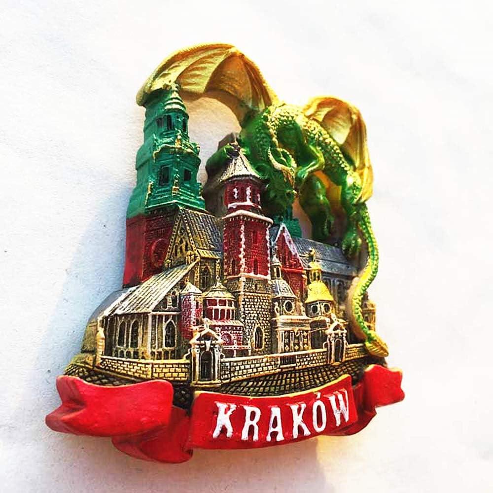 D/écoration de la maison et la cuisine magn/étique autocollant touristique souvenir cadeau 3D Green Dragon Cracovie Pologne Souvenir aimant de r/éfrig/érateur
