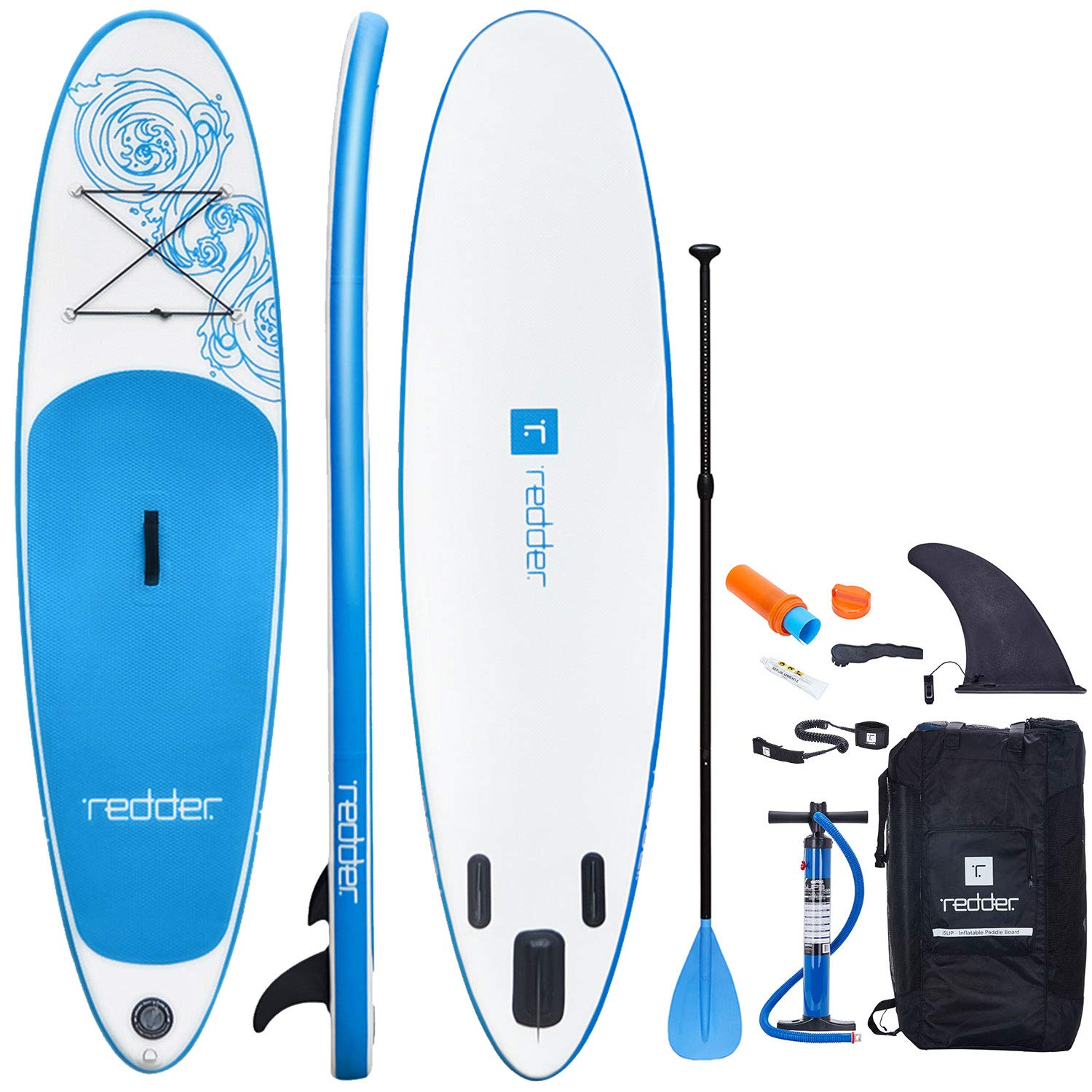 redder Inflatable Stand Up Paddle Board (4.75 Inches Thick) Vortex Universal SUP All Round | Bottom Fin for Paddling and Surf Control | Non-Slip Deck | Youth and Adult 8'8''