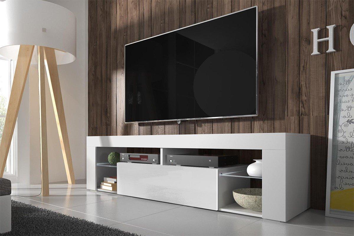 Tv Schrank EVEREST Tv Niedrigboard Unterschrank Hochglanz !!! Mit LED !!! (weiß matt / weiß hochglanz)
