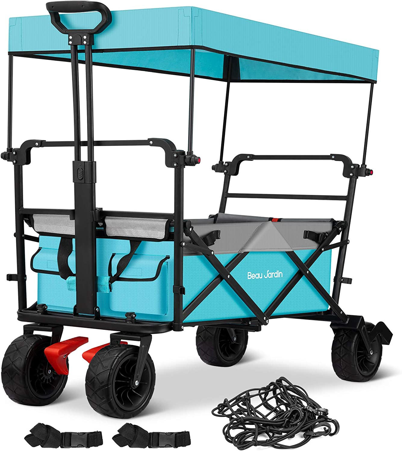BEAU JARDIN Folding Wagon Cart with 1 Nylon Net 2 Straps Canopy Collapsible Utility Camping Grocery Canvas Fabric Sturdy Portable Rolling Buggies Outdoor Garden Heavy Duty Shopping Wide Wheel Blue .