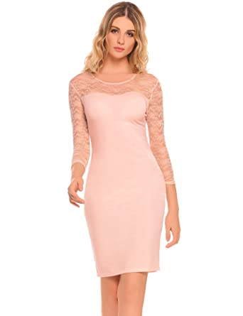 f245710c24a7 OD lover Women s Elegant Floral Lace Long Sleeves Midi Dress at ...