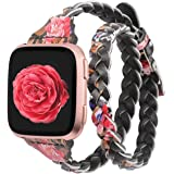 Glebo Bands Compatible for Compatible with Fitbit Versa 2/Versa/Versa Lite Edition,Slim Leather Double Wrap Around Bands…