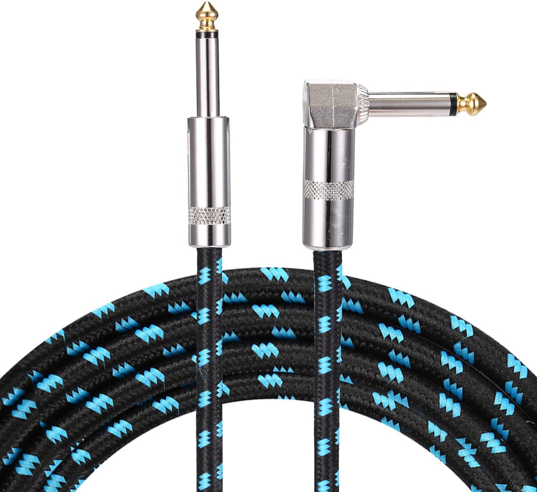 Asmuse Cable para Instrumento Guitarra bajo Guitarra de ángulo recto profesional 3 m TS 1/4 pulgadas 6.3 mm tapones Brown Tweed Chaqueta 10 pies Silencioso para eléctrica Keyboard to Amps (Azul)