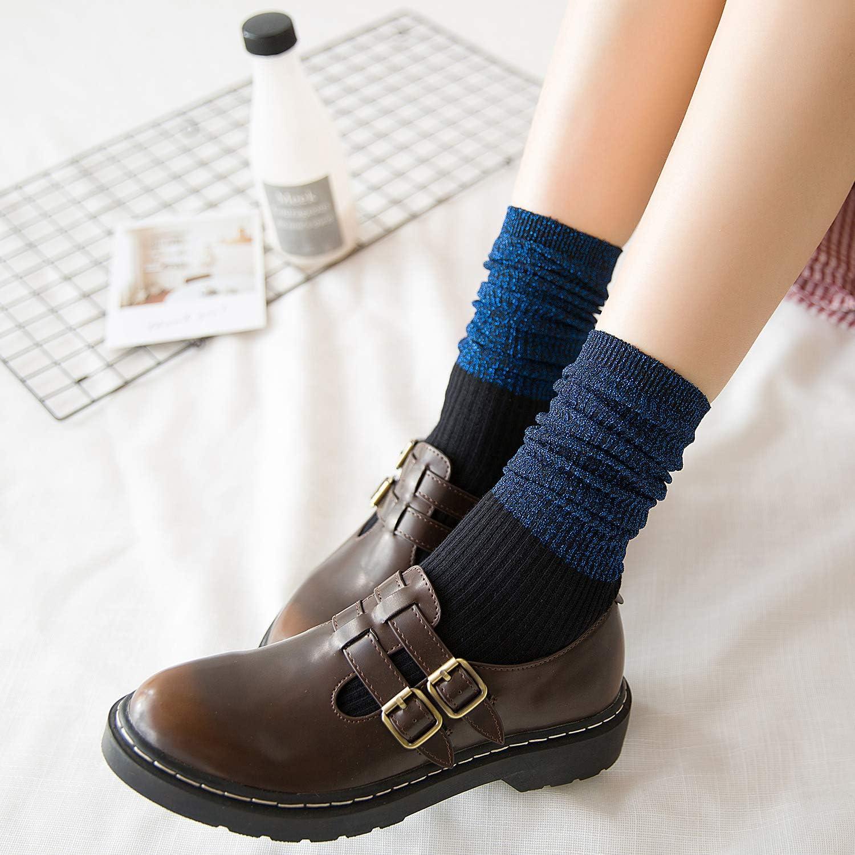 RECECASA 3 Pairs Women Glitter Socks Cuff Cotton Socks Sparkly Metallic Lurex Socks