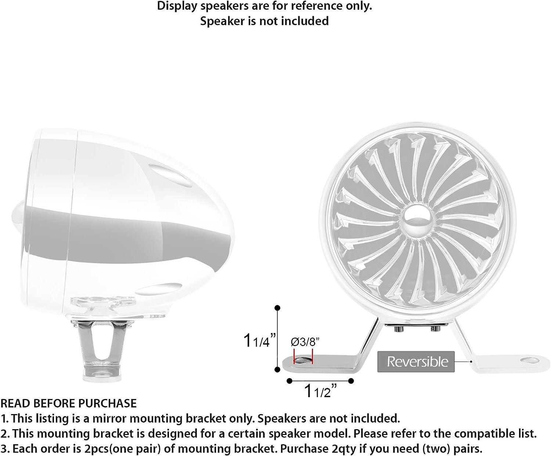 1Pair Set of 2pcs Mirror-Hole Mounting Bracket Hardware for GoHawk Powersports Speakers AJ4 // AN4 // TJ4 // TN4 // AS5 // TS5 Series Chrome