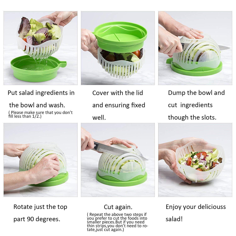 Cortador de ensalada de plástico ABS apto para cortar verduras, frutas, carne en 60 segundos, uso como colador, no necesita tabla de cortar ensalada para ...