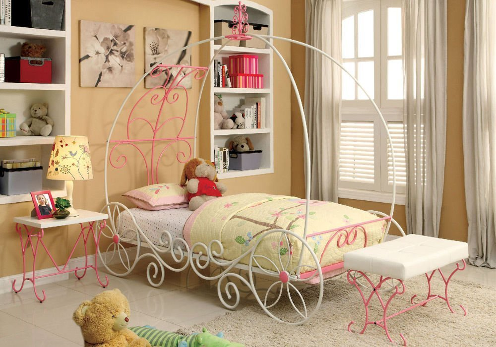 1PerfectChoice Enchant Youth Princess 3D Carriage Metal Pink White Twin Bed Night Stand Bench