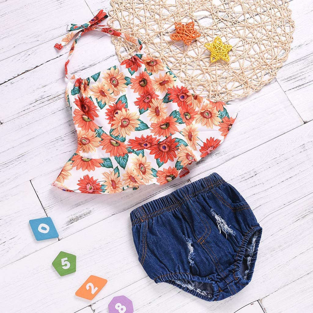 Womola Baby Girl Clothes 2pcs Outfits Short Sleeve Floral Striped Shirt Tops Denim Pants Ripped Jeans