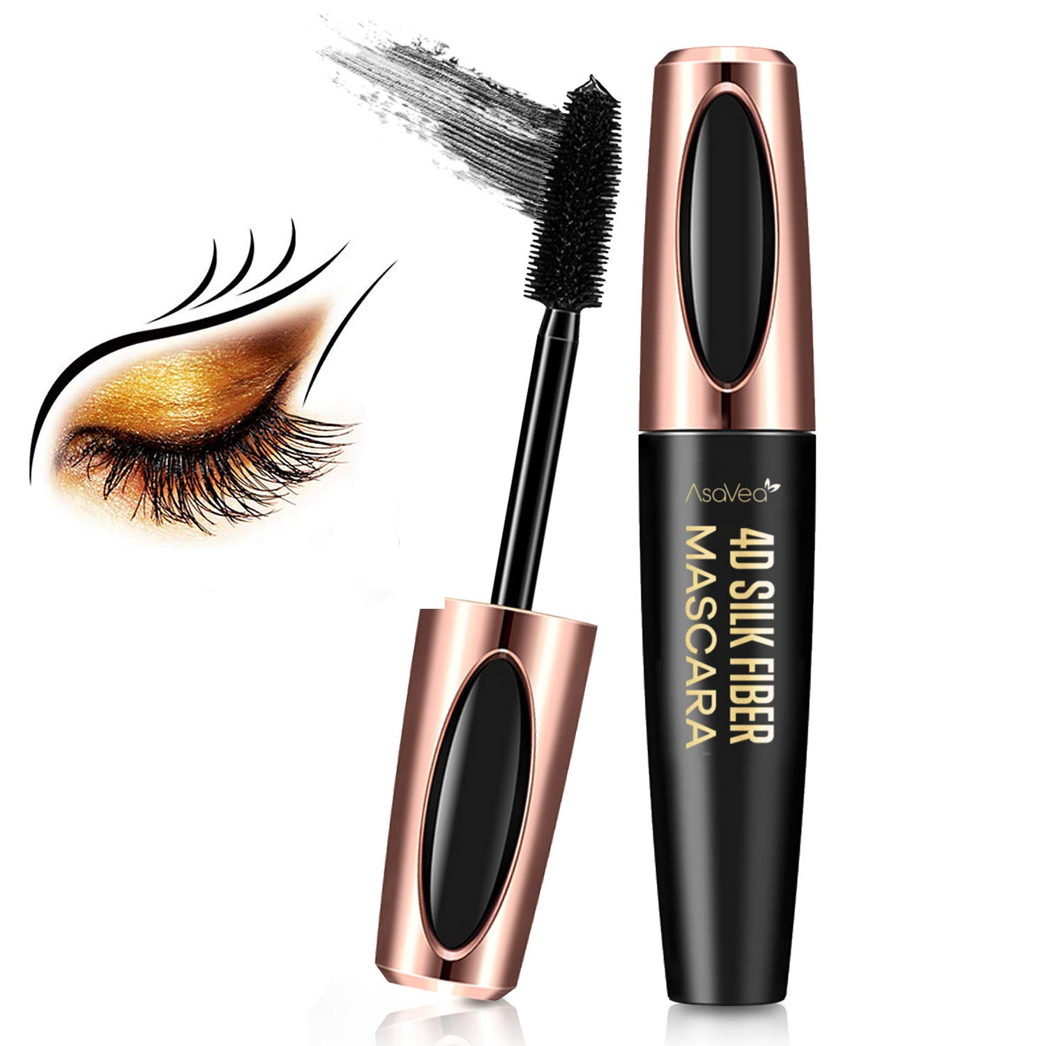 2e6522cd4f4 Natural 4D Silk Fiber Eyelash Mascara, Lengthening & Thick, Long Lasting,  Waterproof &