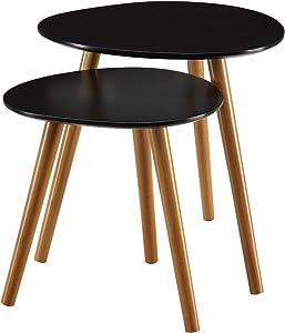 Convenience Concepts 203542BL Oslo End Table, Black/Natural