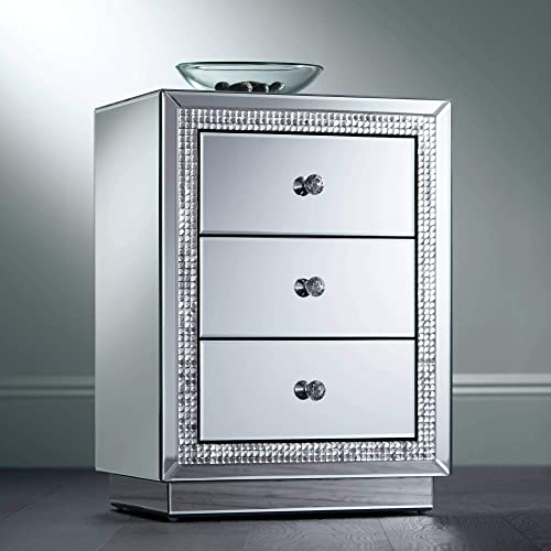 Biscaya 19 Wide 3-Drawer Beaded Mirrored Side Table – Studio 55D