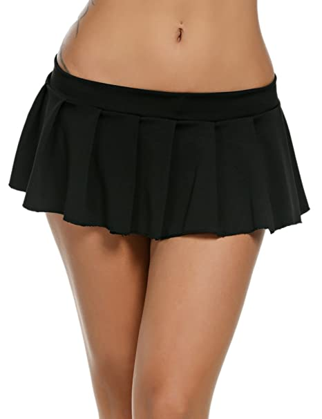Avidlove Sexy Role Play Pleated Solid Mini Skirt Lingerie Sleepwear Black 22cc18a81aac