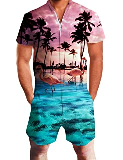 9c05ffead47d UNIFACO Mens Printed One Piece Short Sleeve Zipper Rompers Summer Short  Jumpsuit Overall Pants w