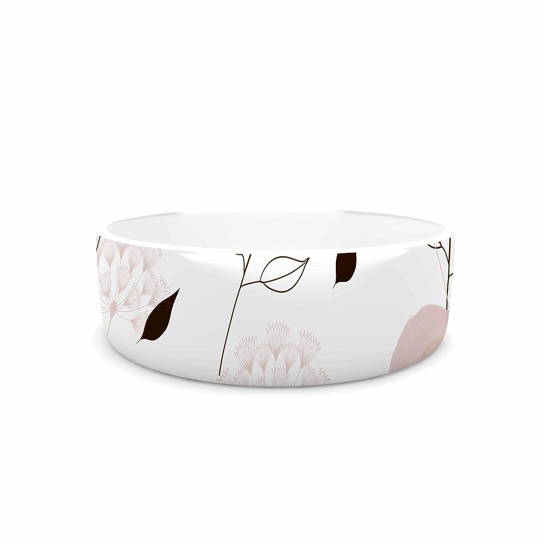 KESS InHouse Li Zamperini Deli Beige Pastel Watercolor Pet Bowl, 7  Diameter
