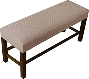 Stretch Bench Covers for Living Room Stretch Spandex Bench Slipcover Rectangle Removable Washable Bench Furniture Seat Protector (Large, Sand)