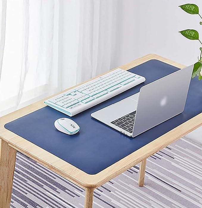 Suaver Gaming Mauspad 800 X 400 X 2 Mm Extended Mousepad Wasserdichter Office Tischunterlage Groß Pu Leder Schreibtischmatte Xxl Mousepad Rutschfeste Schreibtischschutz Blau Beleuchtung
