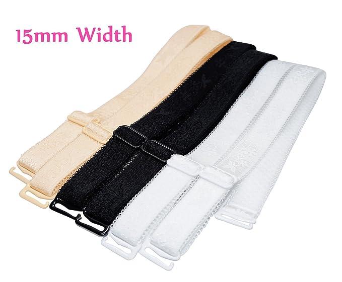96e629f2d4fee Amazon.com  15mm Width Band Shoulder Bra Straps Elastic Adjustable Black  White Beige 3 Pairs  Clothing