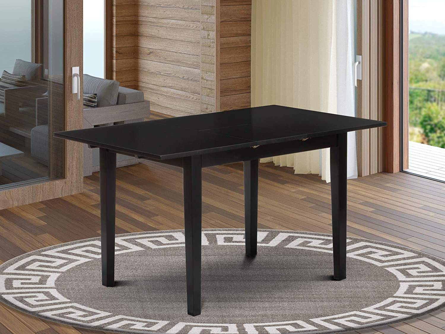 East West Furniture NFT-BLK-T Wooden Table, Standard Height