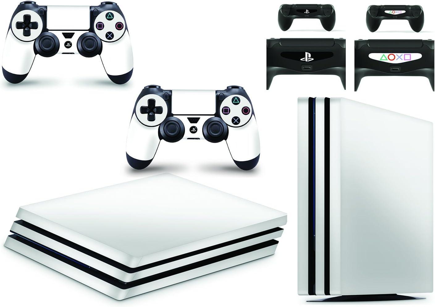 giZmoZ n gadgetZ Skin Adhesivo de Vinilo de Blanco de GNG para la Consola PS4 Pro + Set de 2 Skins para los Controladores: Amazon.es: Electrónica