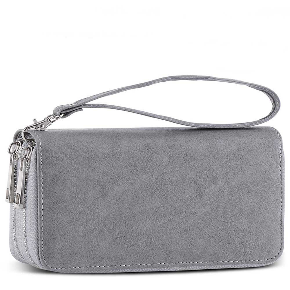 XeYOU Double Zipper Around Long Clutch Wallet Card Holder Purse with Coin Pocket for Cash, Coin, Card and Smart Phone (Grey with Wristlet Strap)