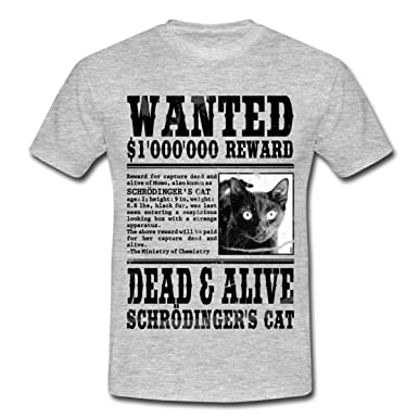 Spreadshirt Chat De Schrodinger Wanted Dead And Alive T Shirt Homme