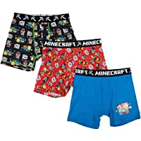 Minecraft Boys Boxer Briefs (3 Pack) with Steve and Various Monsters