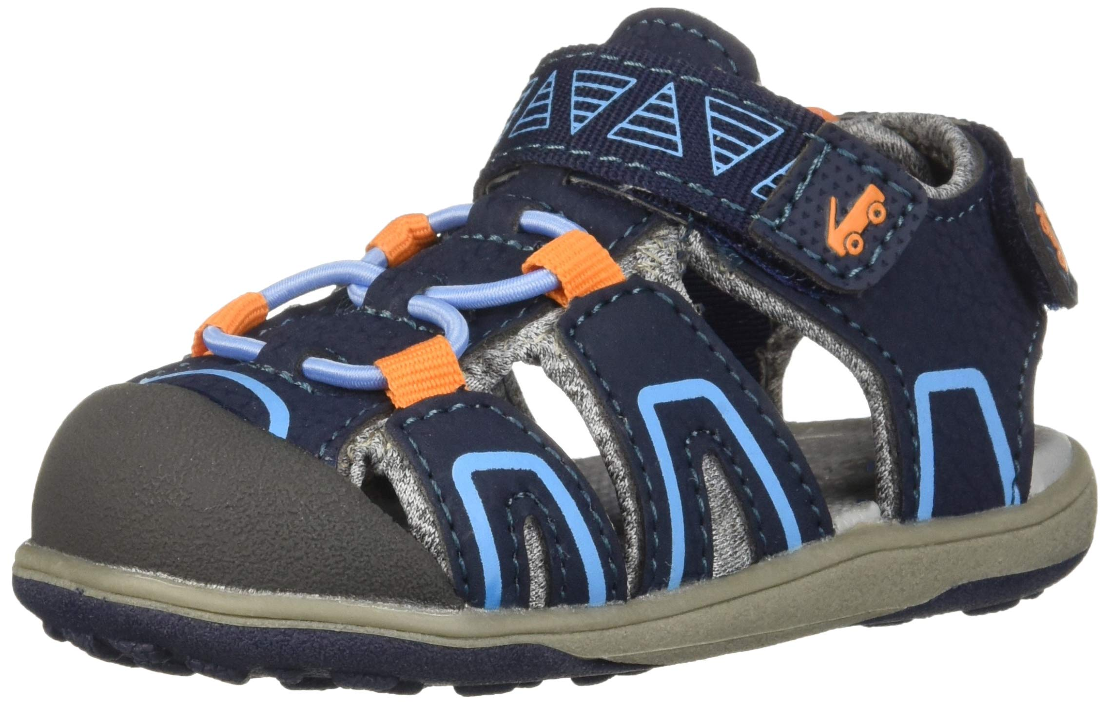 See Kai Run Boys' Lincoln IV Sport Sandal, Navy/Orange, 3Y M US Little Kid