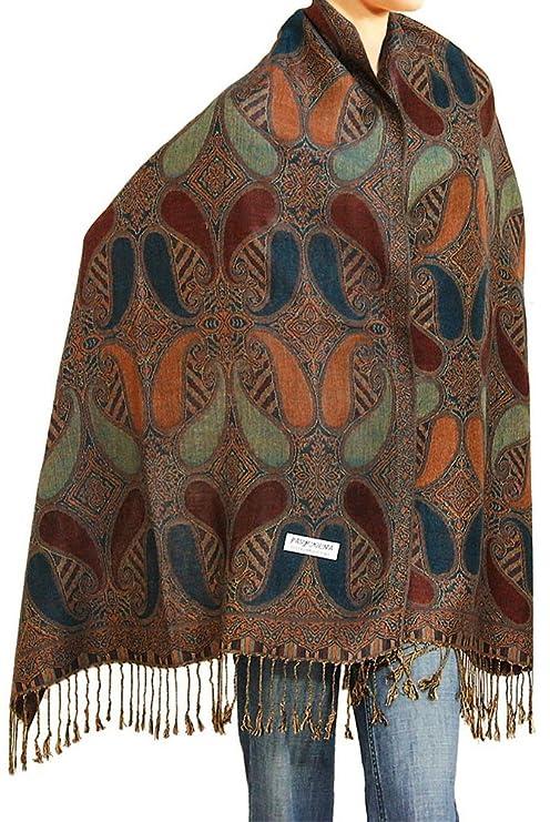 "Falari Women's Woven Pashmina Shawl Wrap Scarf 80"" x 27"" Brown Navy"