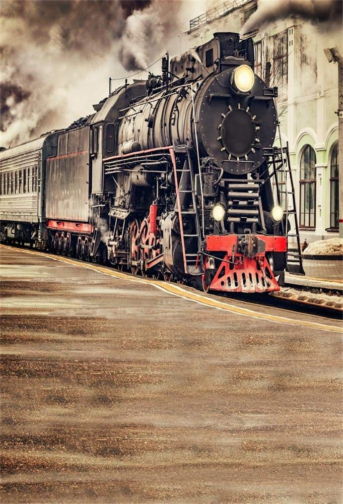 Laeacco Vinyl Photography Backdrop 5X7FT Background The Old Steam Train Locomotive Railway Landscape Scene Railroad Background Photography Studio Photo Props Home Decoration Holiday Party Birthday