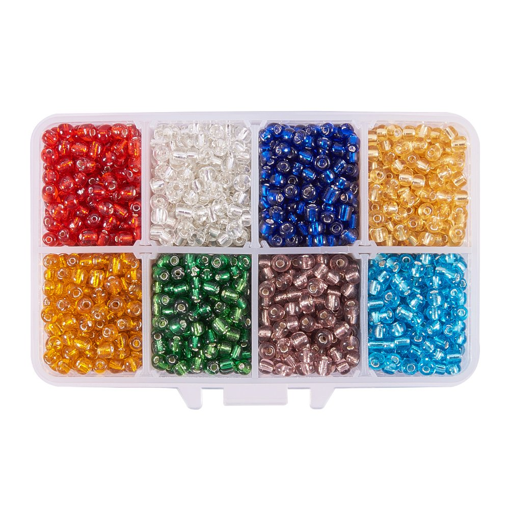 Pandahall Elite 1 Box 18 Color 8/0 Glass Seed Beads 3mm About 9000 Pieces Assorted in Storage Box wh-SEED-PH0007-01