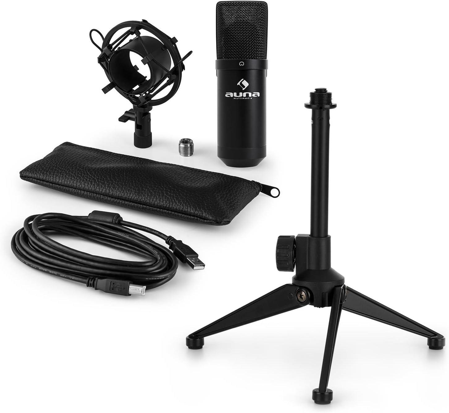 auna MIC-900B - USB Mikrofon-Set V1, Kondensatormikrofon + Mikrofon-Tischständer,  Nierencharakteristik, USB, Plug & Play, perfekte Haltteeigenschaft,  Höhenverstellbar, rutschfest, schwarz: Amazon.de: Musikinstrumente