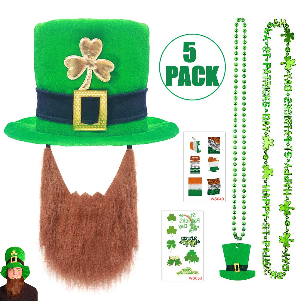 72b3d0b2e5bea St Patrick s Day Hat 5 PCS Set - Leprechaun Hat with Gold Shamrock   Green  Necklace   Irish Flag Tattoos