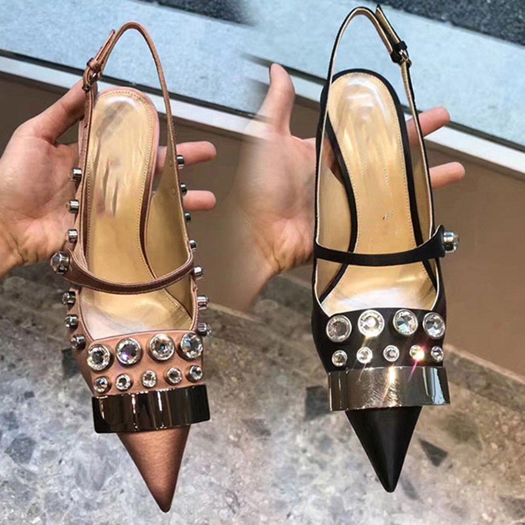 Ren Chang Jia Shi Pin Firm Schuhe Damen Handgenähte Sandalen Sommer Seide Strass Fein Hochhackige Handgenähte Damen Schuhe Hochhackige Schuhe Kristall Schuhe (Farbe : schwarz, Größe : 37) - 87ac7c