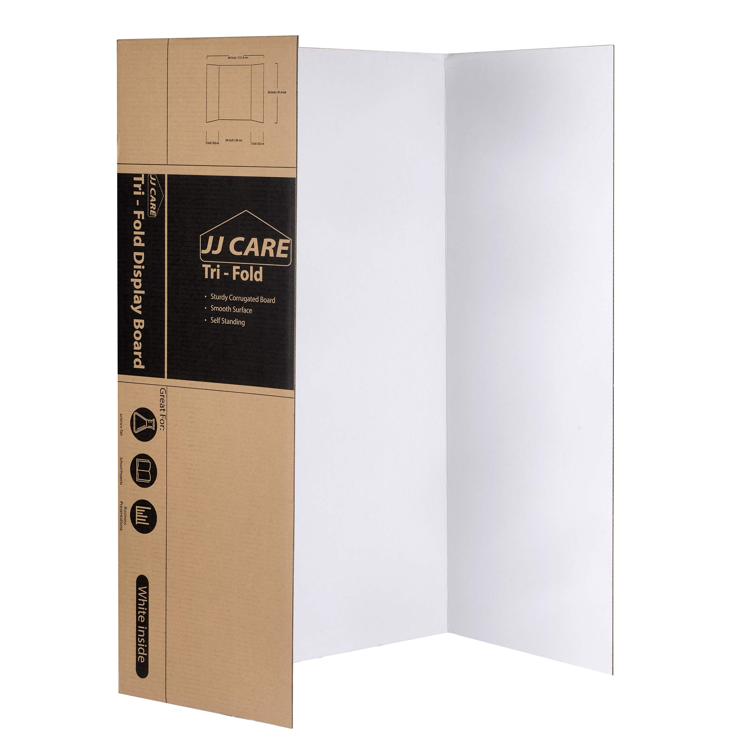 [Heavy Duty] 36'' x 48'' Trifold Poster Board; Corrugated Cardboard Panel; Presentation Board for Art Projects and Science Fair Board by JJ Care