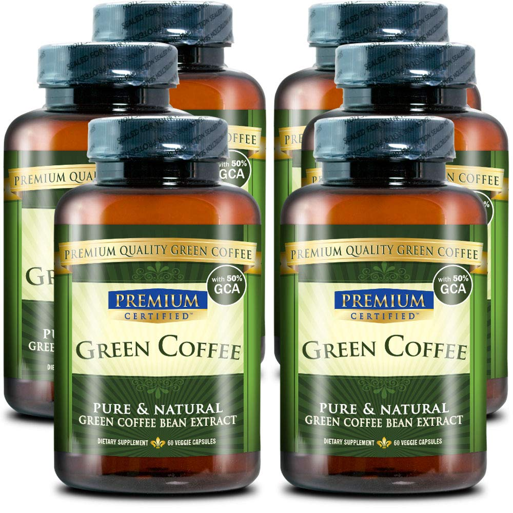100% Pure Green Coffee Bean Premium Extract - 50% Chlorogenic Acid - Natural Weight Loss, Antioxidant and Metabolism Booster - 360 Vegetarian Capsules