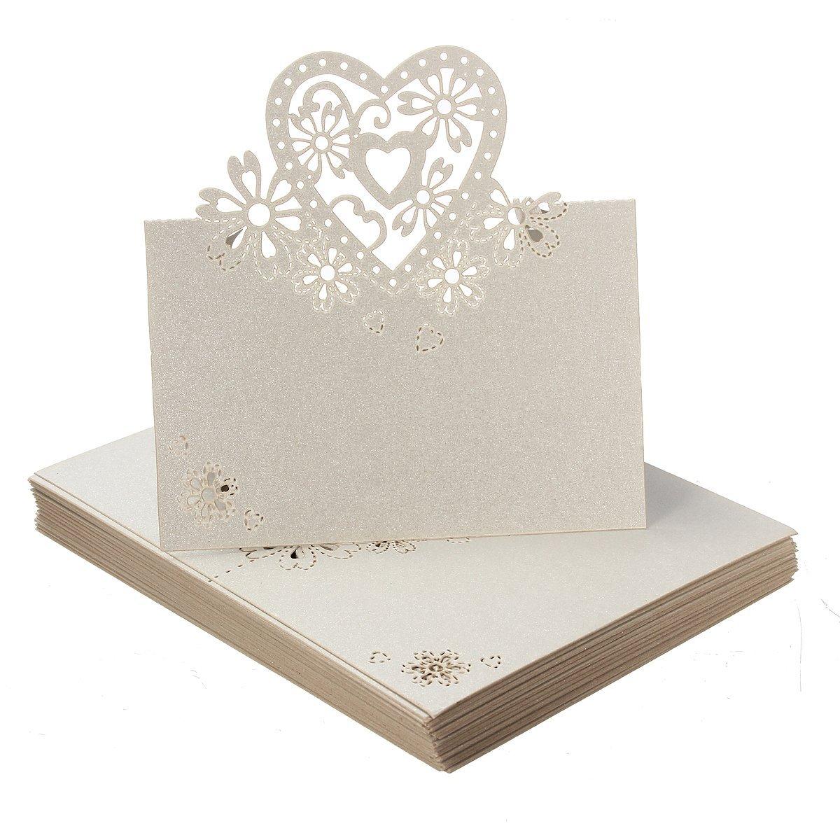SODIAL 50 x Decorazione del cuore Matrimoni Comunione nome carte di posto R