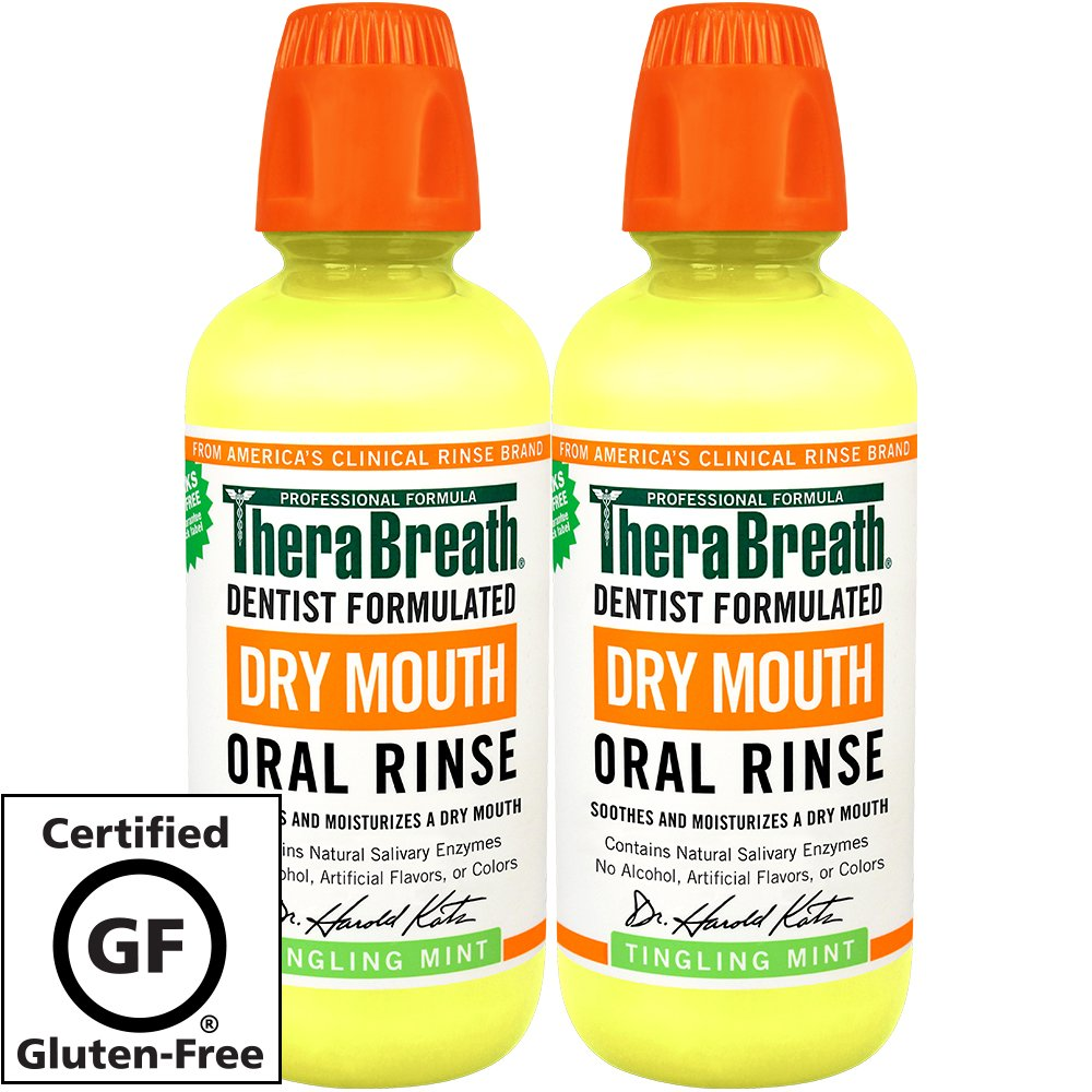 TheraBreath – Dry Mouth Oral Rinse – Dentist Formulated – Natural Salivary Enhancer – Tingling Mint Flavor – Natural Mouth Moisturizer – 16 Ounces – Two-Pack by TheraBreath