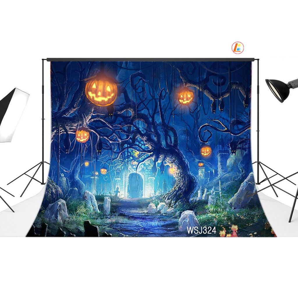 LB Halloween Party Backdrop for Photography Pumpkins on Trees All Saints' Day Photo Background Customized Vinyl 9x6ft Photo Shoot Studio Prop WSJ324 by LB