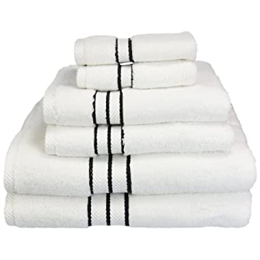 Superior Hotel Collection 900 Gram, 100% Premium Long-Staple Combed Cotton 6 Piece Towel Set, White with Black Border