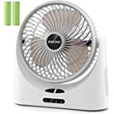 Battery Operated Fan, Personal Mini USB Desk Fan, 3 Speeds, Strong Airflow, Quiet Operation Tiny Fan with 5-17 Running Hours, Rechargeable 5200mAh Batteries for Camping, Traveling, Outdoor Activities