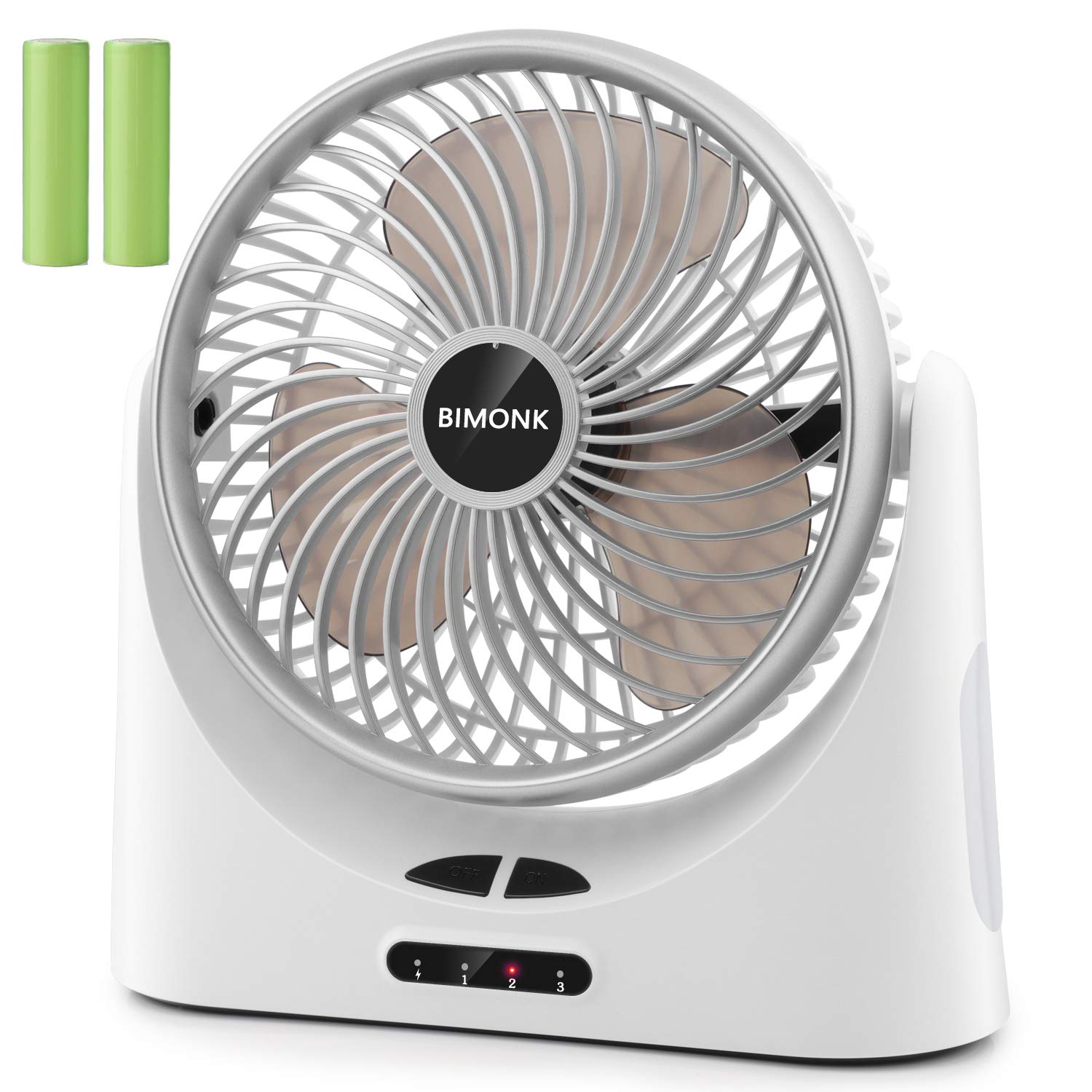 Bimonk Battery Operated Fan Rechargeable, Strong Airflow with 3 Speeds, Quiet Operation, Portable USB Desk Fans with 5-17 Running Hours, Side Light for Camping, Travel, Home, Office, Outdoor by BIMONK