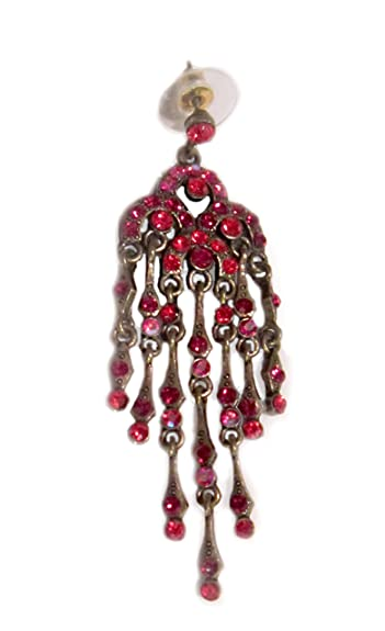Amazon red crystal chandelier earrings antique gold fashion red crystal chandelier earrings antique gold fashion metal aloadofball Image collections