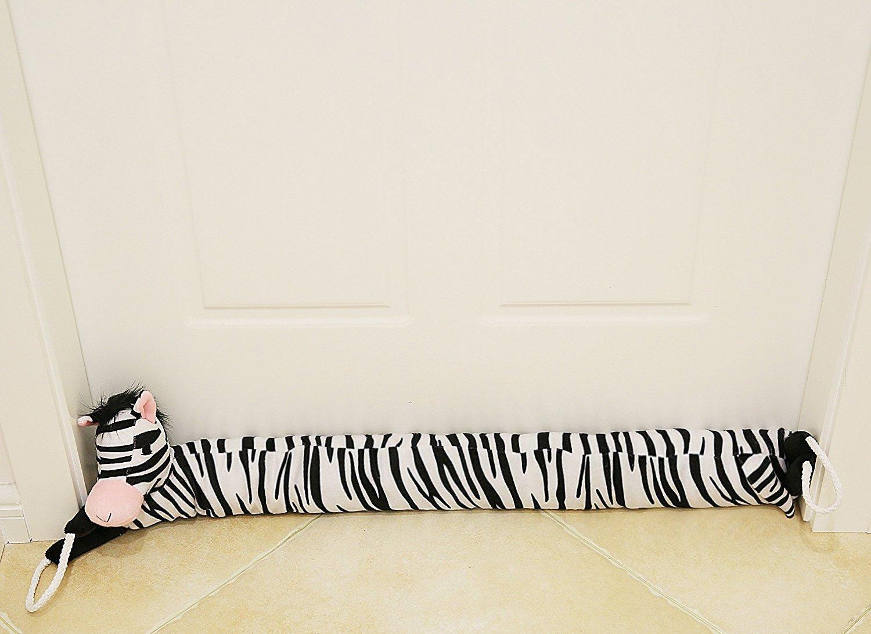 MAXTID 38'' Zebra Door Draft Stopper with Rope Handle, Noise and Bug Blocker Save Energy & Money, Keep Heat In