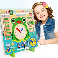 guoYL26sx Baby Toys Wooden Clock Calendar Weather Season Month Cognitive Board Kids Educational Toy