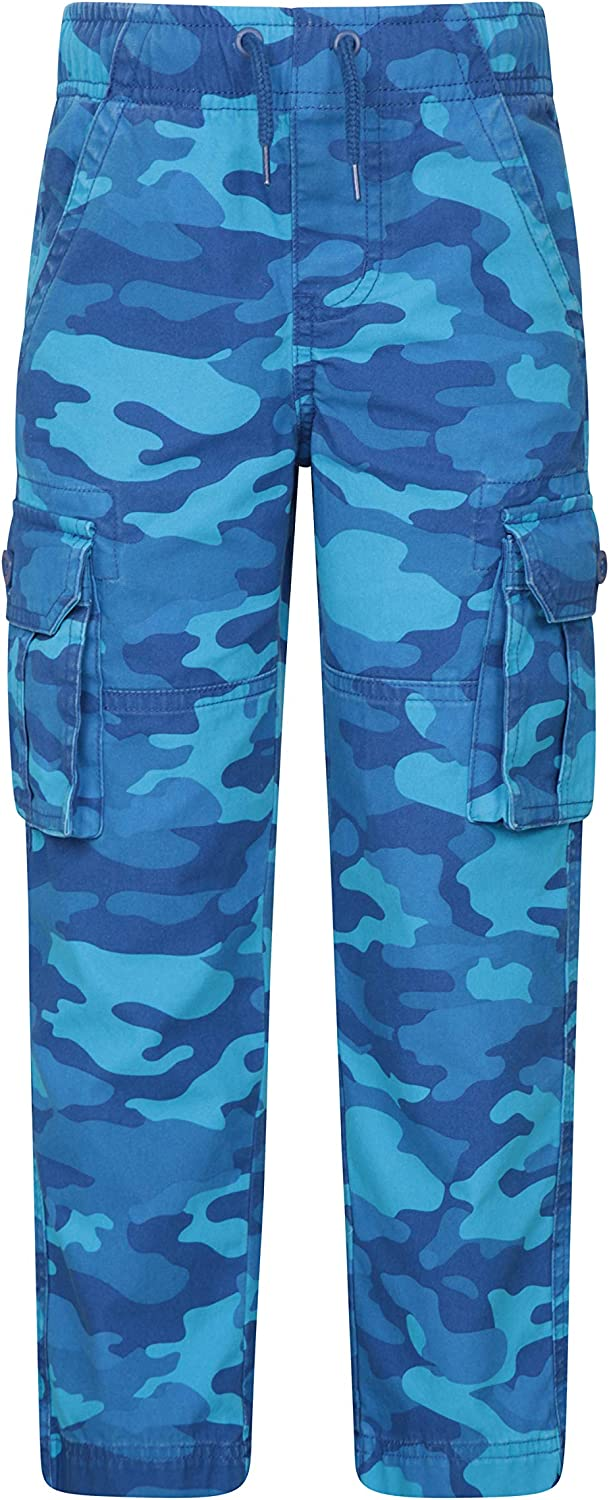 Travelling /& Hiking Mountain Warehouse Camo Kids Cargo Trousers Lightweight for Boys /& Girls -Camping Breathable 100/% Cotton Spring Pants Adjustable Waist Bottoms