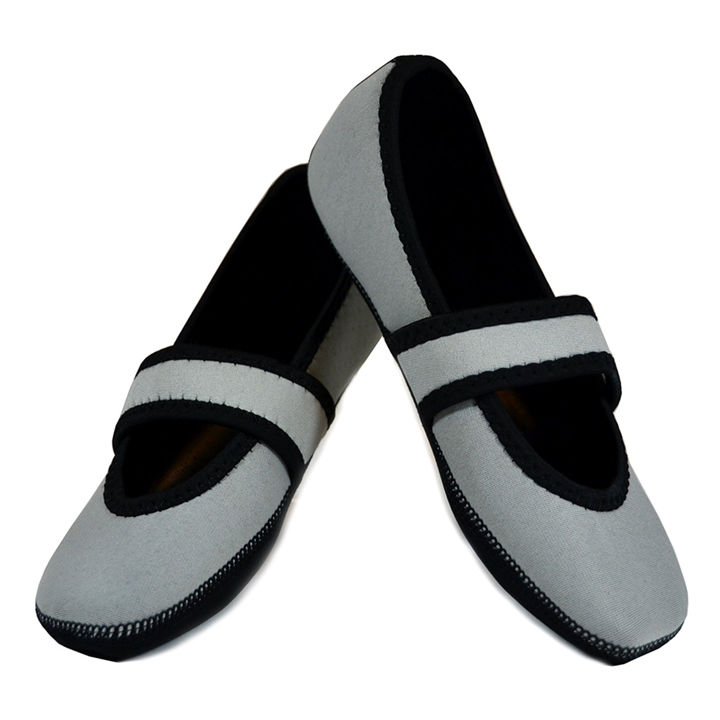 Nufoot Betsy Lou Women's Shoes, Best Foldable & Flexible Flats, Slipper Socks, Travel Slippers & Exercise Shoes, Dance Shoes, Yoga Socks, House Shoes, Indoor Slippers, Gray, Large